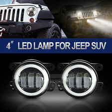 2x 4'' INCH Led Fog Light White Halo 6000K Offroad 07-15 Jeep Wrangler JK Dodge