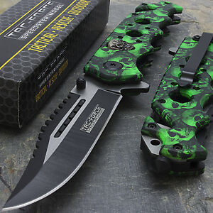 """8.25"""" GREEN SKULLS SPRING ASSISTED TACTICAL FOLDING KNIFE Pocket Blade Open"""