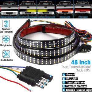 "48"" Triple Row Truck Tailgate Light Bar LED Strip Reverse Brake Turn Signal Lamp"