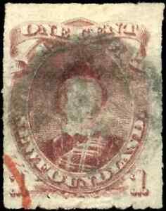Newfoundland #37 used VF HHR 1877 Edward, Prince of Wales 1c Rouletted CV$70.00
