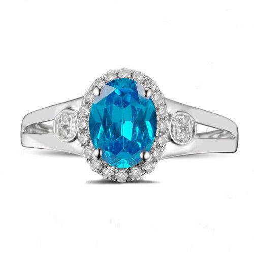 1.90 Carat Real 14KT White gold Natural blueee Topaz EGL Certified Diamond Ring