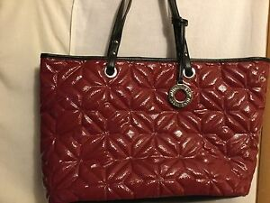 Details About Nine West Tote Bag Purse Faux Leather Shoulder Shiny Red