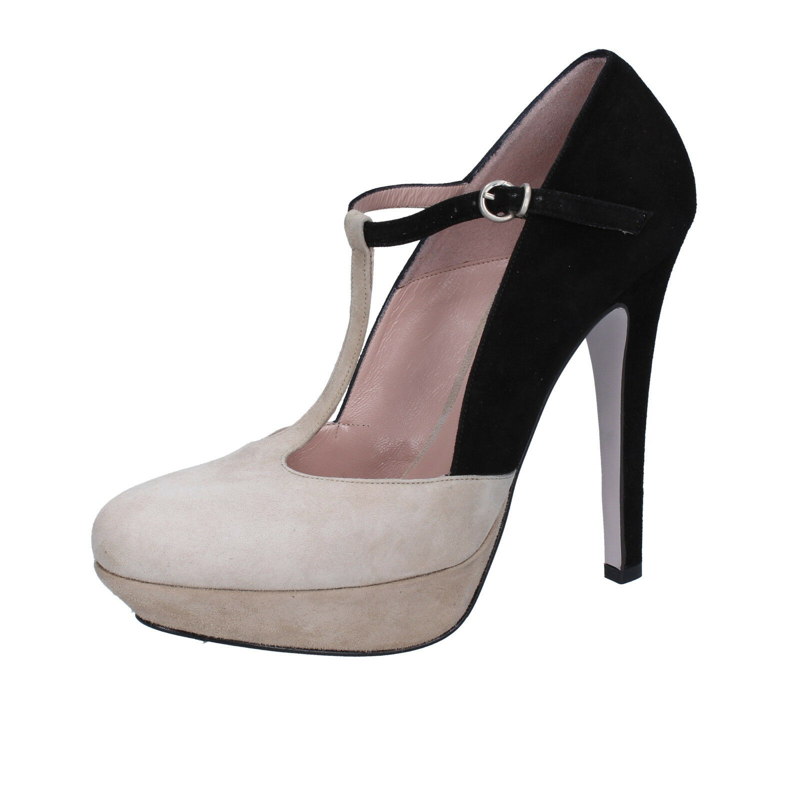 Chaussures Femmes 25.1 C UE 38,5 escarpins noir beige daim ah295-38, 5