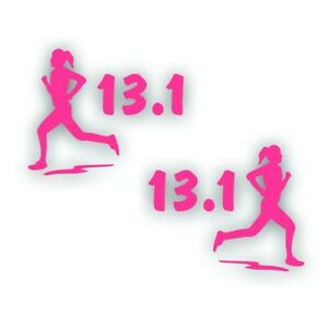 Marathon 13.1 Fille Femme Running Decal Autocollant Paire Pour Olympique Mile Runner Rose-afficher Le Titre D'origine