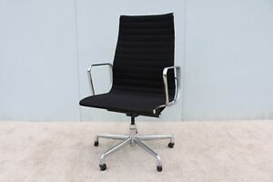 Details about 1958 Herman Miller Eames Aluminum Group High-Back Executive  Chair Black Fabric