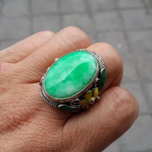 antique Elegant Tibet silver Carved dragon green Gemstone men/'s ring