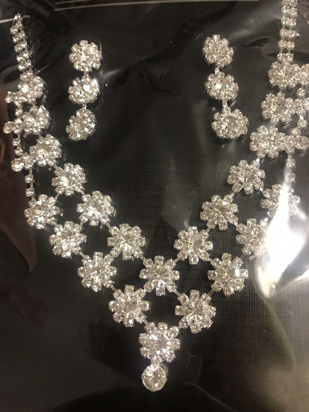 Uk Silver Wedding Bride Crystal Diamond Flower Necklace Earrings
