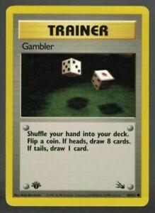 Pokemon Card 1 St First Edition Fossil Set Gambler 60 62 MINT