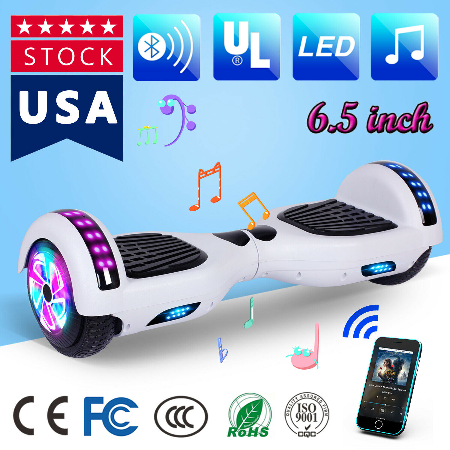 6 5 Led Hoverboard Electric Self Balancing Bluetooth Scooter Ul No Bag White For Sale Online