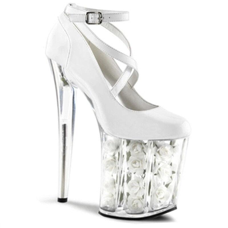 Donna Clear Flower Wedding Stilettos High High Stilettos Heel Strappy Buckle Platform Red Shoes 7257b4
