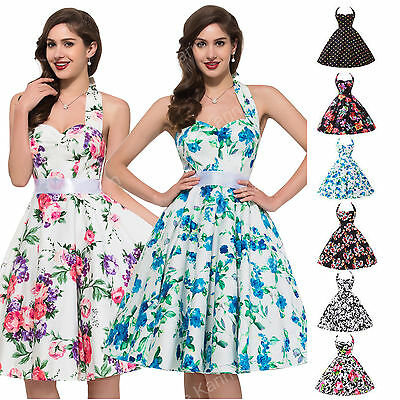 Sexy Halter Cotton Vintage Style 50's 60s Polka Dots Pinup Housewife Party Dress