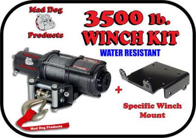 3500lb Mad Dog Synthetic Winch//Mount Kit for 2003-2014 Yamaha Kodiak 450 4x4