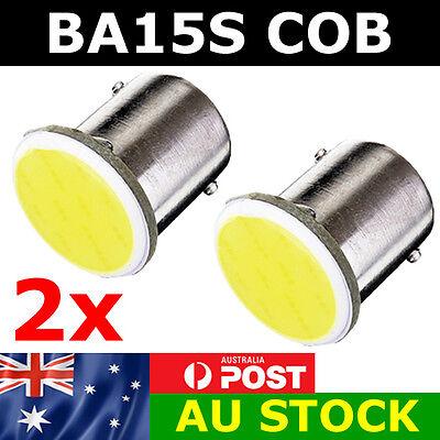 2 x BA15S COB LED - BRIGHT WHITE 1156 Brake Reverse Light Bulb Globe Lamp 12v