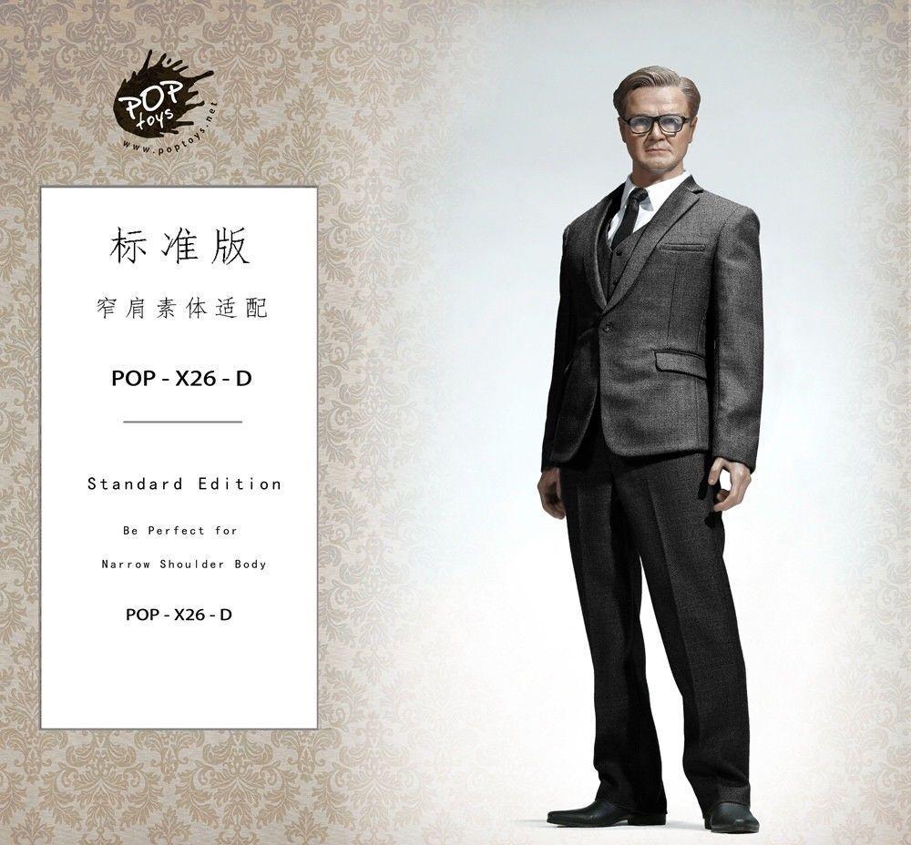 Poptoys-x26-d schmalen schultern westlichen kleidung satz 1   6, dunklen anzug