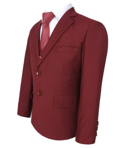 Boys 5 Piece Formal Suits Page Boy Prom Wedding Outfit in Claret Red