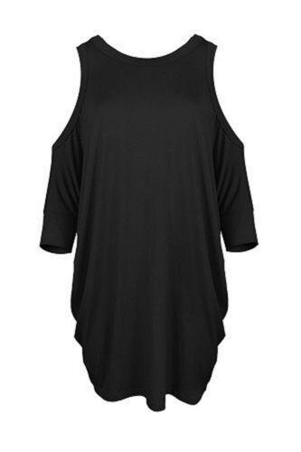 New Women Cut Shoulder Ladies  Long Sleeve Baggy Mini Dress Oversized Top 8-26