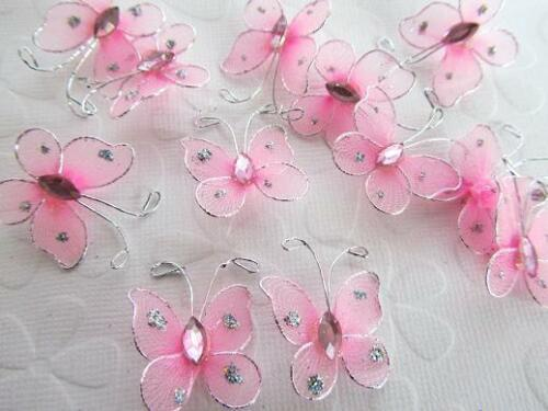 """24 Wire Glitter Butterfly 1/"""" Floral Arrangement Decoration//wedding L8-Small-Pink"""