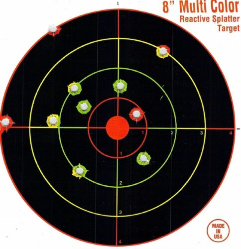 "75 Pack SHOOTING TARGETS Glow Shot Reactive Splatter Gun /& Rifle 8/"" Paper Target"