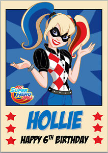DC-Super-Hero-Girls-Harley-Quinn-Harlequin-Birthday-Card-A5-Personalised-wording