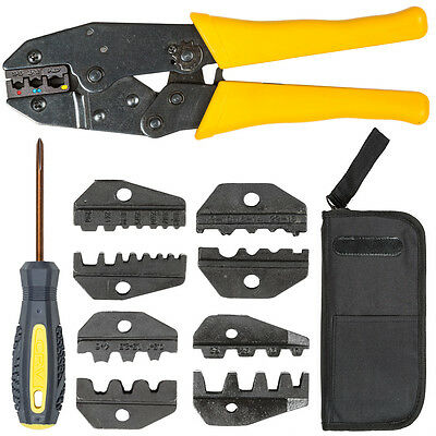 Crimping tool cable wire stripper pliers electrical ratchet crimper 5 dies set