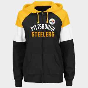best sneakers e0eec ca813 Details about NFL Pittsburgh Steelers Majestic Women's Hot Route Full-Zip  Hoodie - Black