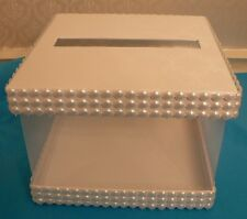 """OFF WHITE WEDDING ADVICE BOX CARD HOLDER SHOWER RECEPTION PARTY FAUX PEARLS 8"""""""