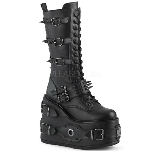 Demonia SWING-327 Women/'s Black Leather Platform Lace-Up Side Zip Mid-Calf Boots