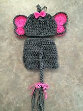 Crochet newborn - 3 month Elephant hat & Diaper Cover photo prop baby gift Pink