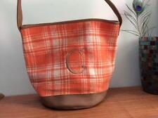HENRY BROWN bucket bag purse tote 12 x 14 orange plaid flannel initial C