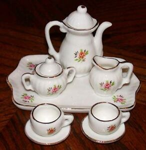 Miniature Tea Set Bone China Pink Rose Design 10 PC