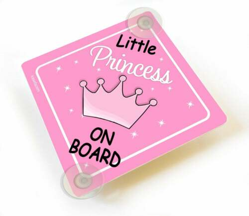 Rose Petite Princesse à bord rose couronne Voiture Signe ventouses Kleine Prinzessin