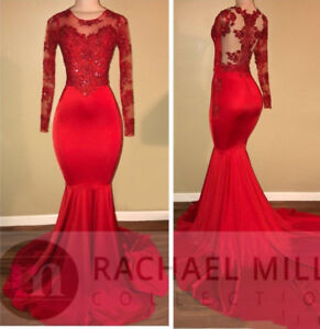 Vintage Long Sleeves Red Prom Dresses Mermaid African Black Girls ...