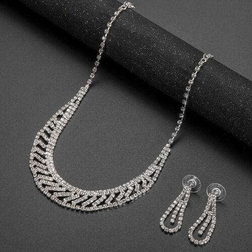 Crystal Pendant Bib Choker Chain Statement Necklace Earrings Wedding Jewelry  wl