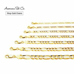 SOLID-GENUINE-14K-YELLOW-GOLD-CONCAVE-FIGARO-CHAIN-NECKLACE-PENDANT