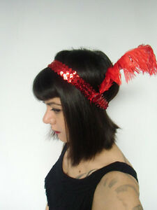 Headband-retro-brillant-elastique-sequin-rouge-plume-annees-folles-20-039-s-original
