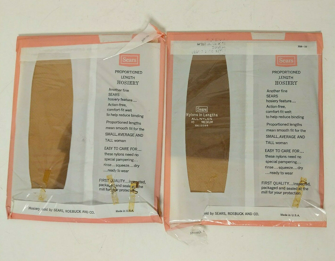 (2) Sears Ultra Sheer Seamless All Nylon Hosiery Mesh Knit Size 10 Style 5504