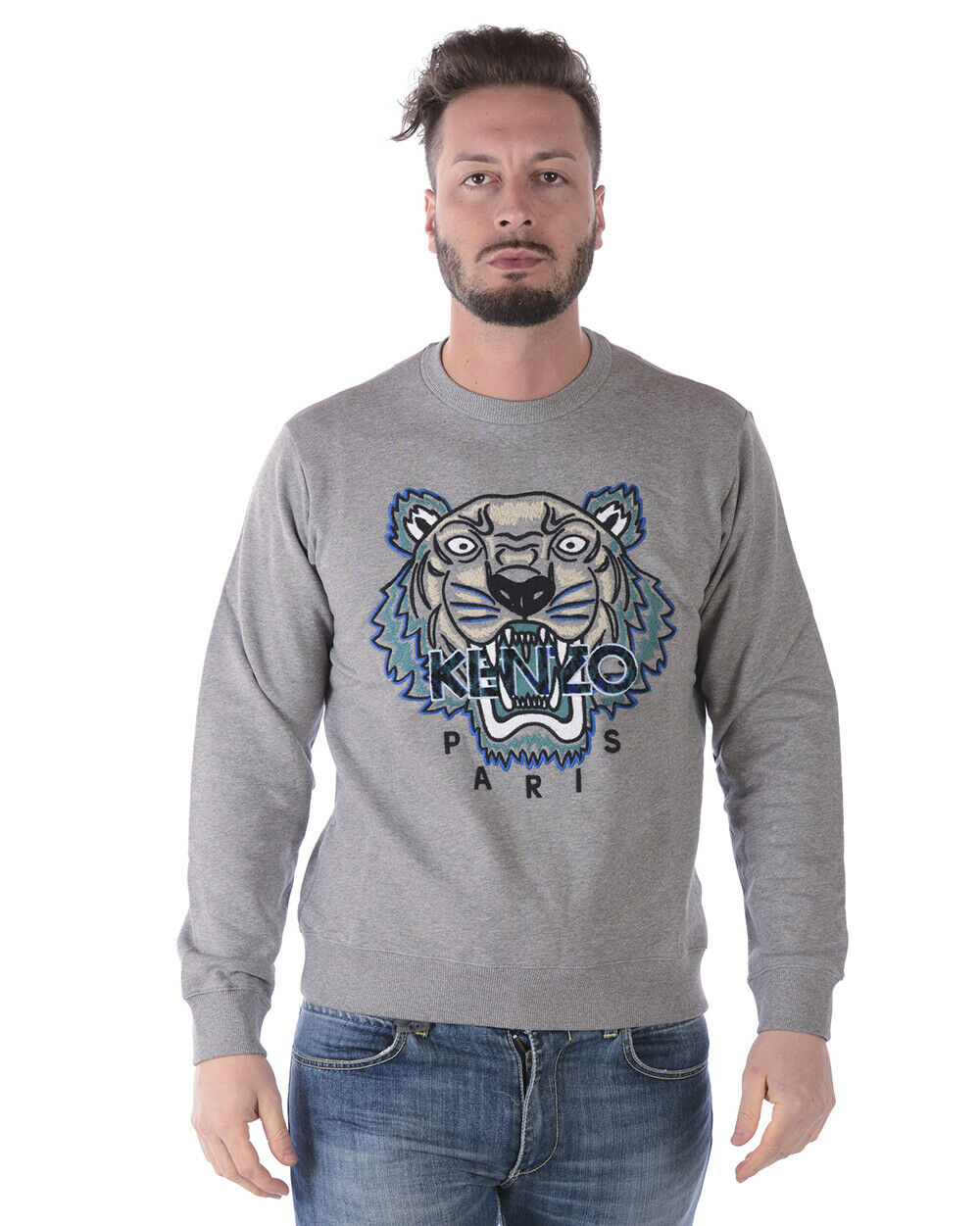 Kenzo SweatHemd Hoodie TIGER Cotton Man grau 4XG5SW088 95 Sz. L PUT OFFER