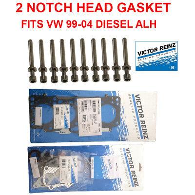2 NOTCH Engine Cylinder Head Gasket Set W Bolts Valve Cover Gasket 1.9 ALH CODE