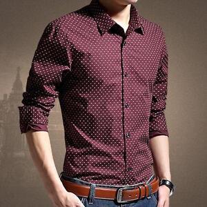 83b6af9d46db Men's Slim Fit Polka Dot Cotton Casual/Formal Shirts Stylish Long ...