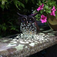 Solar Powered Owl Metal Bird Garden Animal White LED Lights Decor