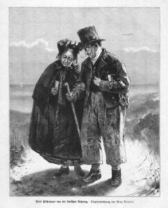 Kurische Nehrung,  Fischer, Paar, Original-Holzstich von ca. 1880