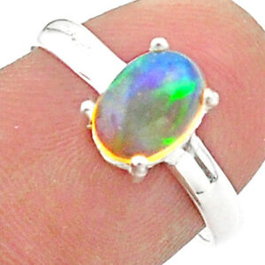 2.34cts Solitaire Natural Ethiopian Opal Oval Shape Silver Ring Size 7 T40948