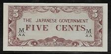 Malaya Japanese Invasion Money 5 Cents 1940's WWII Fractional M/AA Block