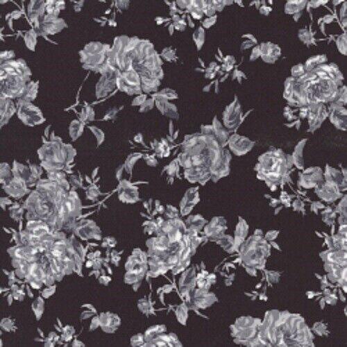 100/% Algodón Popelín impreso floral Vestido de tela patrón negro Material de acolchar