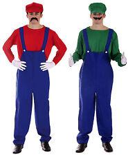 Mario and Luigi Bros 80s Fancy Dress Plumber Workman Couples Costume Oufit