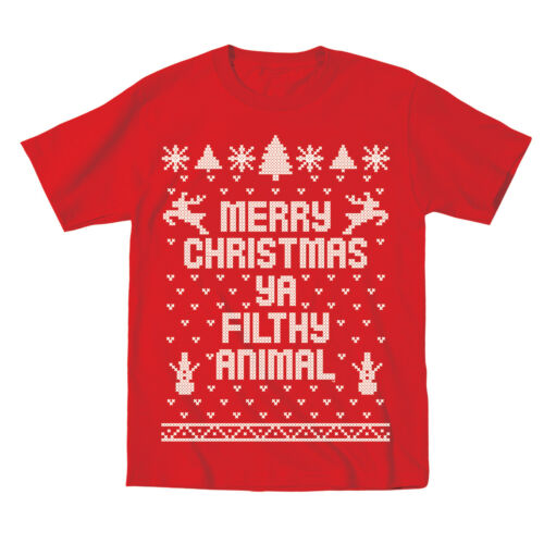 Kids Merry Christmas Ya Filthy Animal Cute Outfit Top Kids Red Toddler T-Shirt