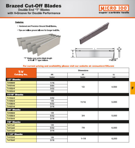"1//8/"" Wide x 11//16/"" Cut-Off V-Groove T-Blade Brazed Carbide Double End Micro-100"
