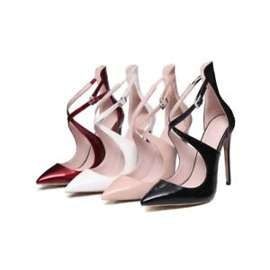 Women-039-s-Patent-Leather-Stilettos-High-Heels-Cross-Strap-Pointed-Toe-Shoes-Pumps