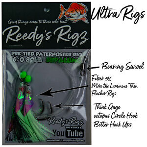 1x-Ultra-Rig-6-0-Flasher-Rig-Killer-By-Reedy-039-s-Rigz-80lB-Paternoster-Pre-Made