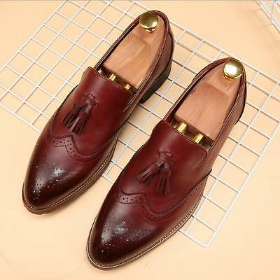 New Men's Casual Oxfords Pointed Leather business Suede Formal Dress Shoes YY36